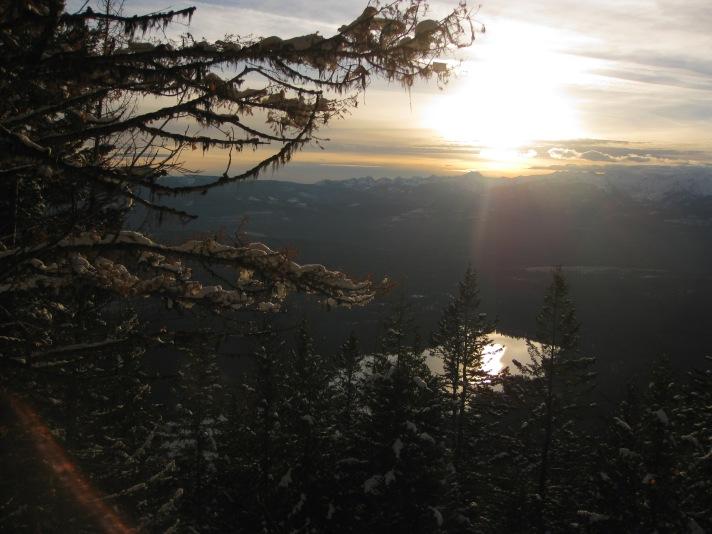 Sunset above Holland Lake near Condon, MT.