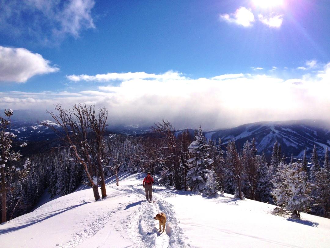 Backcountry skiing at Beehive Basin, Southwest Montana.