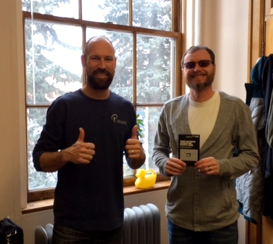 Neal congratulating Trailblazer Mark Greenwood of MSU Bozeman on his REI Giftcard score! (Next year, this could be you!)